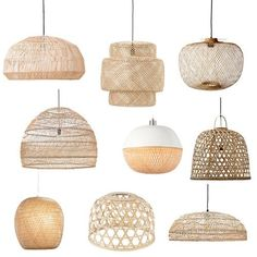 De mooiste hanglampen from bamboe of riet - Shopinstijl.nlHaal de zomer in huis met a hanglamp van bamboe, advised of rotan. Get 9 zomerse hanglamps here in jouw huis of op jouw terras! Home Interior, Interior Design Living Room, Living Room Decor, Bedroom Decor, Wicker Bedroom, Dining Room Lighting, Dining Room Table, Pendant Lighting Bedroom, Kitchen Lighting