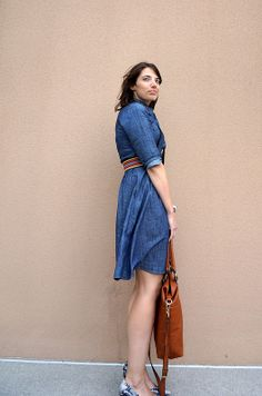Best Dressed Chambray Dress | Style On Target | eshakti dress; cognac tote bag, snakeskin heels, budget style, indianapolis style blog