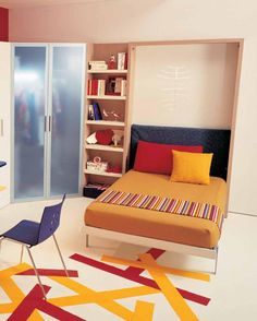 Agreeable Small Bedroom Arrangement Ideas: Stunning Design Ideas For Small Bedrooms For Teen Rooms With Small Space And Yellow Single Sized Bed Also Blue Headboard Red Pillow Yellow Cushion With Task Chair Bookcase Decorations ~ dalatday.com Bedroom Design Inspiration