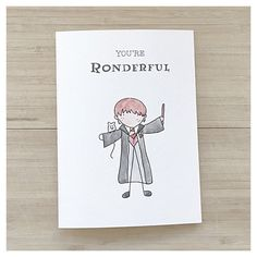 YOURE RONDERFUL Love Card, Harry Potter Card Cards: - kenzieCARDS are each made by hand using a combination of watercolour, ink and creativity - each card unique Packaging: - Each card is individually wrapped in its own plastic sleeve to protect from water damage Size: Card: 5 x 6 7/8 (12.7 x 17.4 cm) Envelope: 5 1/4 x 7 1/4 (13.3 x 18.4 cm) kenzieCARDS look beautiful when framed Shipping: - kenzieCARDS ships to locally to Canada, as well as to the USA and internationally Personal Messag...