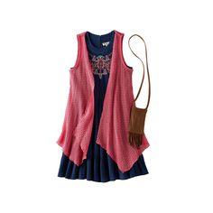 Girls 7-16 Knitworks Open Knit Vest & Embroidered Gauze Dress Set with Crossbody Purse, Girl's, Size: 12, Blue (Navy)