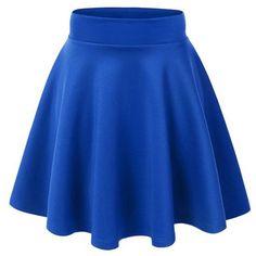 ACEVOG Women's Stretch Waist Flared Skater Skirt Dress Mini Skirt 15... ($11) ❤ liked on Polyvore