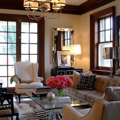 Wood Trim Dark Brown Living Rooms Eclectic Room City