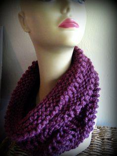 Purple Knit Chunky Cowl Neck Warmer Scarf