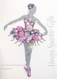 Beautiful sparkling ballerina mixed media art. Framed. Lilac
