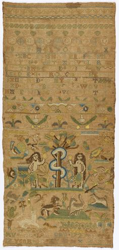 Martha Butler's 1729 sampler belongs to the earliest known group of Boston samplers, worked between 1724 and 1744. The style of the samplers evolved over time, but the majority of them feature Adam and Eve or the Garden of Eden, both important symbols of Puritan theology. Martha's sampler is closely related to what is believed the oldest sampler from the group, worked by Mehetabel Done in 1724 (private collection).