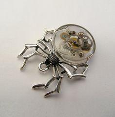 TRANSPARENT Steampunk Black Widow spider pendant by Polasian, $36.00