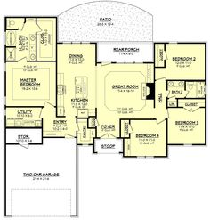 Ranch Style House Plan - 4 Beds 2 Baths 1875 Sq/Ft Plan #430-87 Main Floor Plan - Houseplans.com