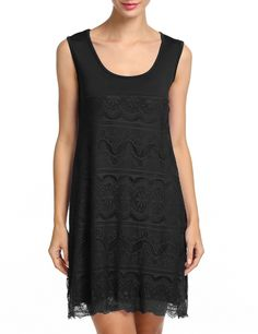 Black Sleeveless Lace Patchwork Floral Hollow Casual Dress