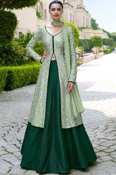 Elegant Tea Green and Bottle Green Lehenga Kameez Set