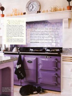 Calluna doesn't need to be your feature colour: why not offset mauve shades with a 'statement' cooker in a rich purple? This AGA finishes the pictured kitchen beautifully. Purple Home, Aga Kitchen, Kitchen Ideas, Aga Stove, Purple Kitchen, Cottage Kitchens, Dream Kitchens, All Things Purple, Purple Stuff
