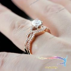 b45c9109a59581 New 14k Rose Gold 1.50CT Diamond Twisted Engagement Bridal Ring Wedding  Band Set Solitaire Diamond