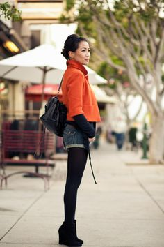 orange swing jacket + cuffed denim shorts + suede booties