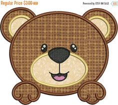 SALE 65% off Cute Baby Bear Face Applique by embroiderydesignsavi