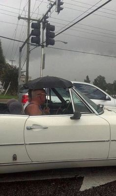 Umbrellas are a great substitute for a convertible with no top.