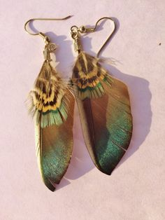 Feather Earrings by CustomCribbage on Etsy https://www.etsy.com/listing/212211849/feather-earrings