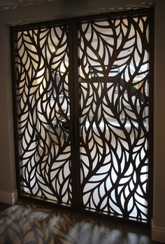 Silian art gallery London Laser cut sliding doors Frond design by Miles and L Silian art galler Laser Cut Screens, Laser Cut Panels, Railing Design, Gate Design, Wooden Door Design, Wooden Doors, Interior Doors For Sale, Room Divider Doors, Room Dividers