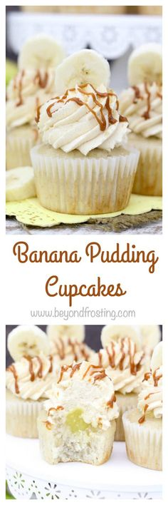 These Banana Pudding Cupcakes are made from scratch and are filled with a banana pudding and vanilla mousse and topped with dulce de leche. ~ Beyond Frosting Oreo Cupcakes, Banana Pudding Cupcakes, Homemade Banana Pudding, Baking Cupcakes, Cupcake Recipes, Baking Recipes, Cupcake Cakes, Dessert Recipes, Cheesecake Pudding
