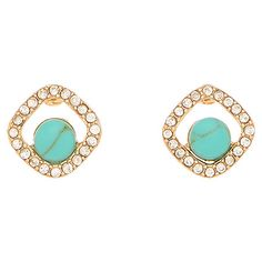 Pairing polished turquoise with glittering rhinestones, these chic earrings are a lovely finishing touch for work outfits and evening ensembles alike.