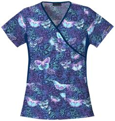 """This """"Midnight Flight"""" scrub top in Cherokee features a #butterfly print! #medicalscrubs 