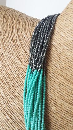 Turquoise and charcoal necklaceteal and gray by StephanieMartinCo