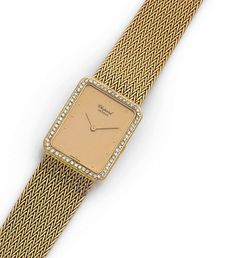 CHOPARD Belle montre bracelet en or jaune, boitier rectangulaire entouré d'un pavage bombé