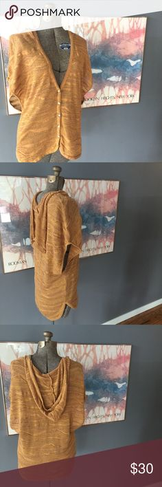 """Anthropologie Moth Mustard Hooded Sweater // Small Awesome Anthro sweater hoodie by Moth. Lightweight mustard yellow open knit. Size small. 100% cotton. 27 3/4"""" long. New with tags.                                                                           Offers welcome! Anthropologie Sweaters Shrugs & Ponchos"""
