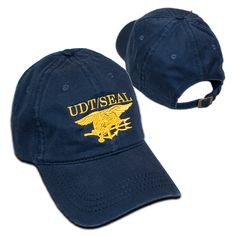 Navy Blue Otto Ball Cap with Embroidered UDT SEAL - Embroidered Trident in  Yellow 35a5ec4eb91