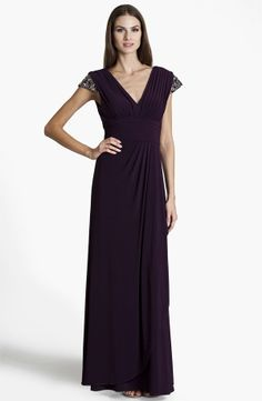Embellished Pleated Surplice Gown