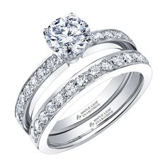 Classic Round Brilliant Canadian Diamond Engagement Ring with Diamond on the Shank with a Matching Diamond Pave Band