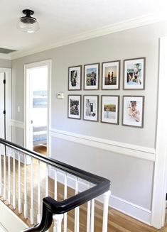 Tips And Layout Ideas For Hanging A Minimalist, Grid-Style Gallery Wall Along Your Staircase Or Hallway With Affordable Frames And Family Photos Hallway Pictures, Family Pictures On Wall, Hallway Ideas, Wall Ideas, Family Photo Walls, Hanging Family Photos, Displaying Photos On Wall, Stair Photo Walls, Stairway Pictures