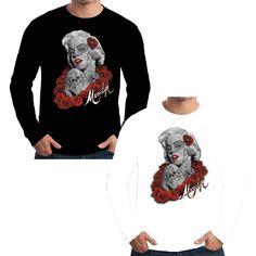 Velocitee Mens Long Sleeve T Shirt Marilyn Monroe Dia Los Meurtos Tattoo W15729 #Unbranded