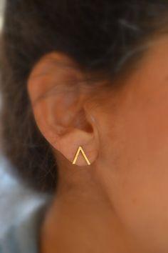 Peak Mountain studs. V shaped. geometric earrings by LUNATICART