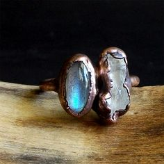 Labradorite Ring Raw Quartz Crystal Ring Dual Stone Copper Size 9.5 Stacking Ring Rough Stone Jewelry Midwest Alchemy