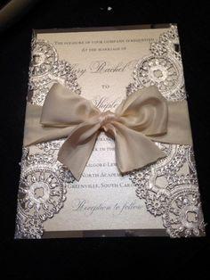 Invitación elegante para tu boda con metales y liston. Encuentra más inspiración en bodatotal.com  DEPOSIT Metallic Doilies Wedding Invitation by InvitationsbyErin: