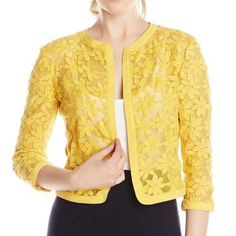 """☀Gorgeous Lace Cardigan☀️ Extremely versatile open-front cardigan style jacket. Sheer floral lace embroidery.  Wear over a dress or with a t-shirt and jeans!  Three quarter sleeves.  Hits above hips at approximately 19"""" in length.   Excellent Condition, worn once!! Nylon/cotton/polyester blend. color name: Goldenrod. True color shown in pic 2. Anne Klein Sweaters Cardigans"""