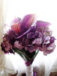 Purple Calla Lily & Hydrangea Long Stem Bouquet by BrideBouquets, $89.99