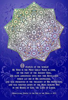 "Baha'i art by Joe Pacskowski depicting ""The Nine Pointed Star"" of the Baha'i Faith."