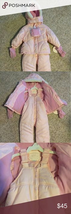 Carter infant girl Coat w/ Snow Pants NWT Perfect for the cold temps outside! NWT Toddler Girl 12 month Coat w/ Snow Pants. Comes with mittens and a hat. Never worn. Carter's Jackets & Coats