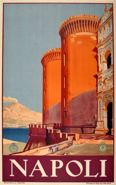 Vintage Travel Posters, Vintage Postcards, Vintage Signs, Italian Posters, Art Deco, Clear Blue Sky, Naples Italy, Travel Themes, Travel Photos