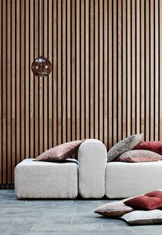 The 'Lake' modular sofa from Broste Copenhagen Living Room Nook, Living Room Decor, Living Spaces, Interior Design Inspiration, Home Interior Design, Wood Cladding, Mid Century Decor, Master Bedroom Design, Retro Home Decor