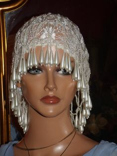 Antique style Beaded Peals Flapper Hat Cloche