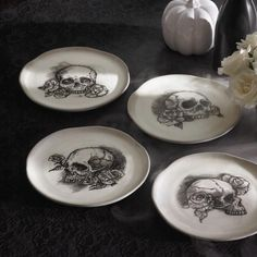 Sketched Skull Plates, Set of Four
