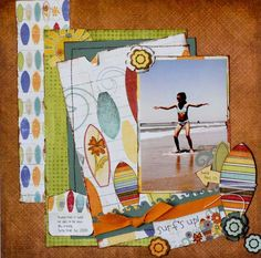 Adapt to 8x8:  One solid mat/large pic on each page.  Patterned paper = 1 or 2 on each...