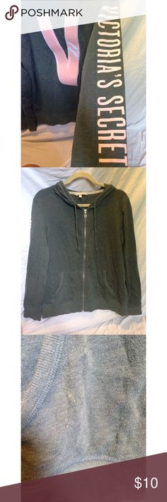 Gray Victoria's Secret Zip-up Jacket Super cute jacket, does show some wear, still in good condition. Starting to pull some, but not too bad. Victoria's Secret Jackets & Coats