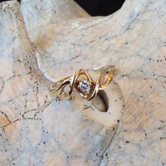 10K Gold Diamond Swirl Ring st  1020 by RAMJewelers on Etsy