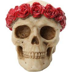Flower Skull Figure Hot Topic ($10) ❤ liked on Polyvore featuring home, home decor, skull home decor, skull figurines, resin figurines and skull home accessories