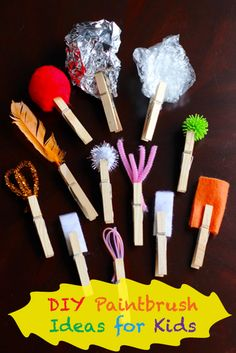 You can inspire creativity with your kids with these fun DIY paintbrushes using a variety of household items and some clothespins!