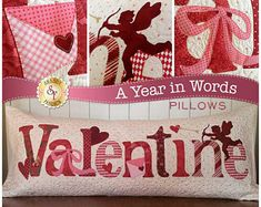 """Valentine Bench Pillow Pattern - """"Valentine"""" by Shabby Fabrics - 15.5 x 36"""" Great in Cotton Applique or Wool applique"""