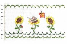 Smocking plate with three sunflowers and a mouse in one of the sunflowers with a butterfly. 10 rows of smocking on a yoke. Smocking Plates, Smocking Patterns, Girl Dress Patterns, Coat Patterns, Skirt Patterns, Blouse Patterns, Smocked Baby Clothes, Smocking Tutorial, Sewing Coat